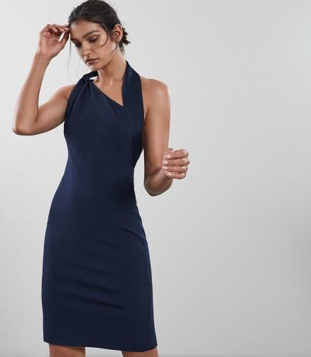 REISS VARESSE TWIST NECK DRESS FRENCH NAVY ~ chic asymmetric halterneck