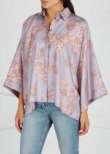 VERSACE COLLECTION Baroqué-print oversized silk shirt ~ mauve & blush-pink