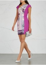 VERSACE COLLECTION Violet chinoiserie-print panelled dress – purple bodycon – asymmetric neck