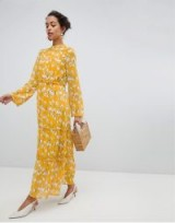 Vila Yellow Floral Maxi Dress / long summer frocks