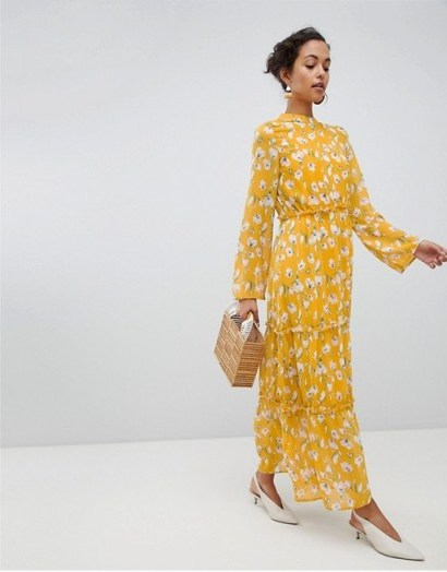 Vila Yellow Floral Maxi Dress / long summer frocks - flipped