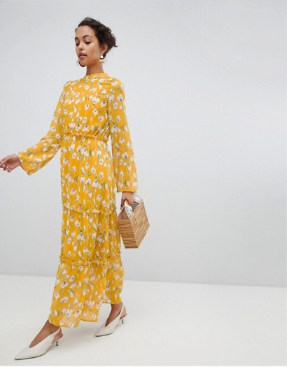 Vila Yellow Floral Maxi Dress / long summer frocks