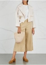 VINCE Ecru cropped cotton twill jacket – oversized cropped jackets – neutral summer tones