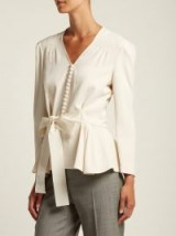 STELLA MCCARTNEY V-neck bow-front top ~ chic white blouse
