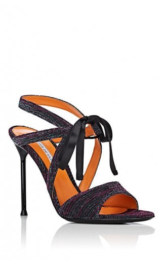 WALTER DE SILVA Rita Ankle-Tie Sandals ~ strappy metallic thread shoes