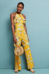 Varun Bahl Warbler Ruffled Jumpsuit Yellow ~ bird motif ~ dress up or down summer clothing