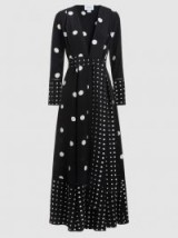 WE ARE LEONE Polka-Dot Silk Crepe De Chine Robe ~ longline statement coats