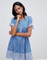 Whistles Riya Drawstring Mini Dress Blue/White / summer style