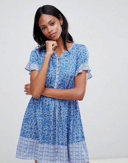 Whistles Riya Drawstring Mini Dress Blue/White / summer style