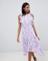 Whistles Tiered Satin Devore Dress Lilac – feminine summer occasion fashion