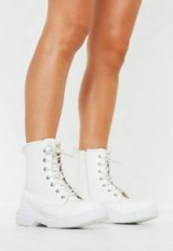 MISSGUIDED white chunky sole lace up ankle boots