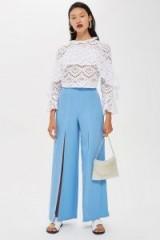 Topshop Wide Leg Front Slit Trousers | pale-blue split pants