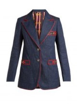 GUCCI Wrinkled denim blazer ~ gold tone horsebit detail