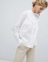 Y.A.S High Neck Smock Detail Shirt in White | romantic high neck and ruffles