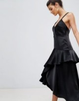 Y.A.S Ruffle Side Cami Dress With Cross Back | asymmetric LBD