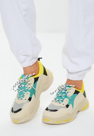 yellow contrast sole colour block chunky trainers | colourful sneakers