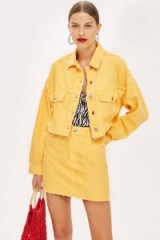 Topshop Yellow Hacked Denim Jacket | summer colours
