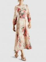 ZIMMERMANN Laelia Floral-Print Linen Midi Dress ~ feminine summer event look