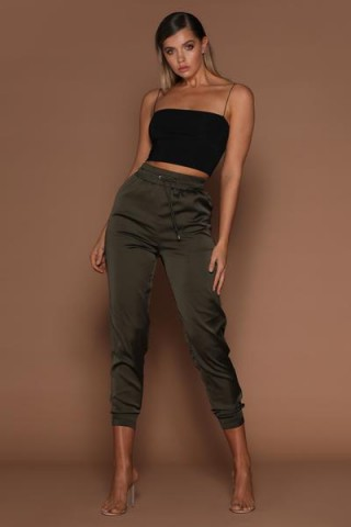 MESHKI AGATHA SATIN JOGGERS in KHAKI | green jogging pants | sports luxe fashion