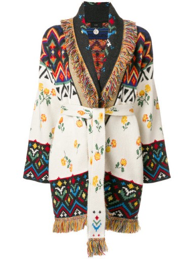ALANUI belted intarsia cardigan ~ mixed patterned knitwear