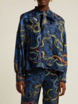 F.R.S – FOR RESTLESS SLEEPERS Alethia blue snake-print silk shirt ~ luxe pyjama style clothing