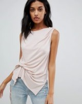AllSaints knot front tank top in cami pink | slinky sleeveless tee