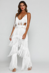 MESHKI AMIRA FRINGE PANTS in WHITE | party fashion | fringed going out trousers