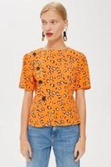 Topshop Animal Print Button Blouse in Orange | retro style summer tops
