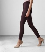 REISS ARLA DEEP MULBERRY SEAM DETAIL SKINNY TROUSERS ~ zipped hem skinnies ~ dark purple pants