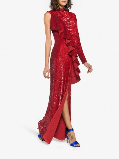 ASHISH Sequin Embellished Ruffled Dress ~ red sequinned one sleeve gown - flipped