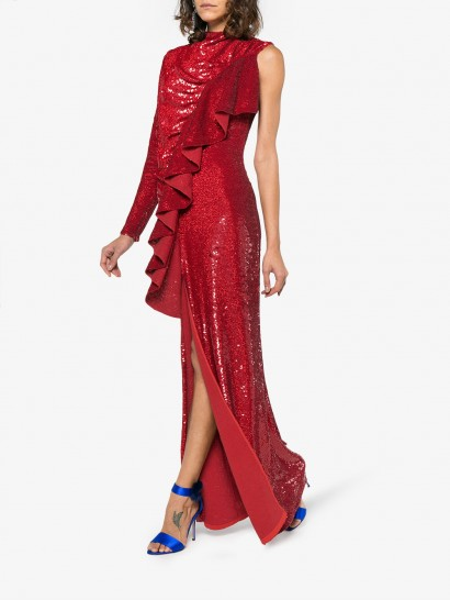 ASHISH Sequin Embellished Ruffled Dress ~ red sequinned one sleeve gown