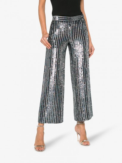 ASHISH Sequin Embellished Stripe Flared Cropped Trousers ~ silver sequinned pants