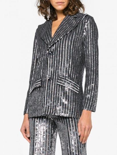 ASHISH Ashish Striped Sequin Embellished Blazer ~ silver sequinned jacket