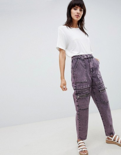 ASOS DESIGN carpenter boyfriend jeans with utility styling in pink acid wash | utilitarian denim