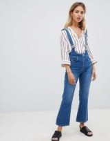 ASOS DESIGN Egerton rigid cropped flare jeans in mid wash with braces | high rise flares