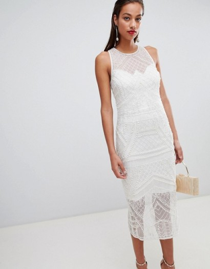 ASOS DESIGN embellished pearl fringe midi dress in ivory | luxe style sleeveless bodycon
