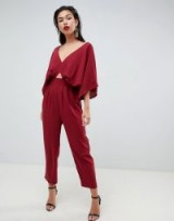 ASOS DESIGN jumpsuit with kimono sleeve and peg leg in wine | oriental inspired fashion