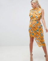 ASOS DESIGN midi dress in floral print jacquard with open back in orange | asymmetric party frock