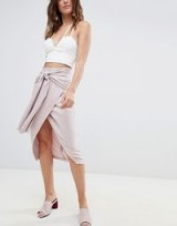 ASOS DESIGN Occasion Tie Front Pencil Skirt in pink – asymmetric wrap style