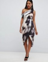 ASOS DESIGN one shoulder hammered satin dress in abstract print | asymmetric neckline party dresses