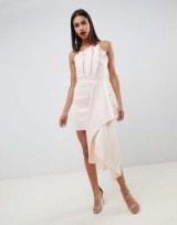 ASOS DESIGN premium scuba dramatic fold mini dress in peony pink | strapless pleated bodice side draped party frock