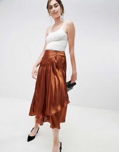 ASOS DESIGN satin midi skirt with self buttons in brown