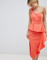 ASOS DESIGN Scuba one shoulder midi bodycon dress | ruffled party dresses