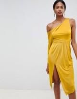 ASOS DESIGN slinky one shoulder midi dress in yellow | asymmetric party frock