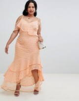 ASOS DESIGN Curve asymmetric ruffle broderie maxi dress in peach | long strappy summer frock