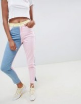Hello Kitty x ASOS DESIGN colour block jeans with embroidery detail – pink, blue & yellow denim