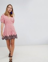 ASOS DESIGN Petite mini wrap dress in gingham with broderie detail | cute check print summer frock