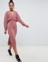 ASOS DESIGN Tall batwing midi plisse dress in dusky rose – pink wrap style dresses