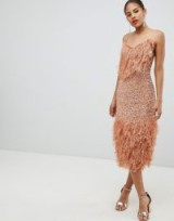 ASOS DESIGN Tall feather effect trim sequin midi bodycon dress in Dark Nude | strappy feathered party frock