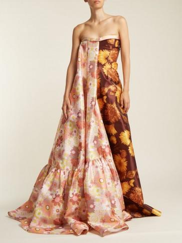 RICHARD QUINN Asymmetric floral-print strapless gown ~ 70s florals